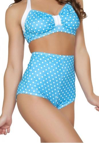 Turquoise Polka Dot High Waisted Shorts