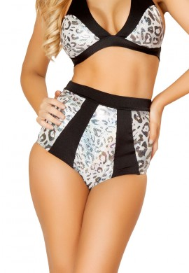 Silver Leopard Panel High Waisted Shorts