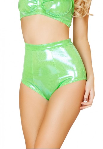 Metallic Lime High Waisted Shorts