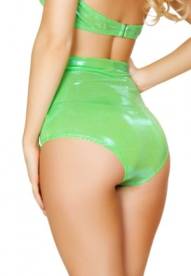 Metallic Lime High Waisted Shorts
