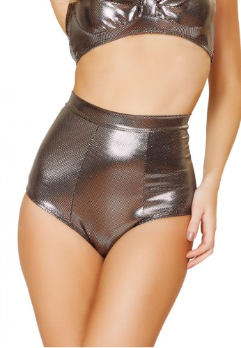 Metallic Gunmetal High Waisted Shorts