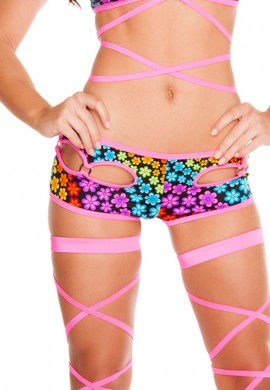 Trance Flowers Cut Out Shorts