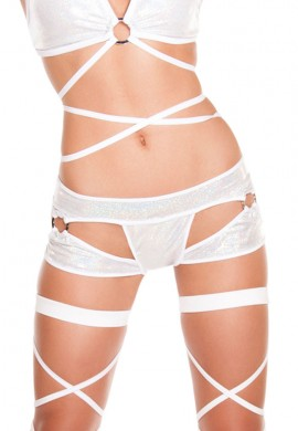 White Cut Out Thong Shorts