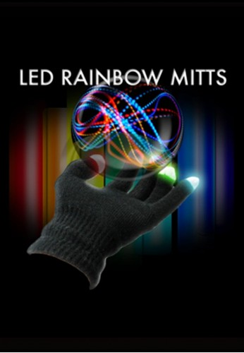 Black Rainbow LED Gloves