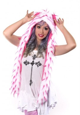 White and Pink Spiked Hood