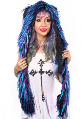 Black and Blue Monster Fur Hood