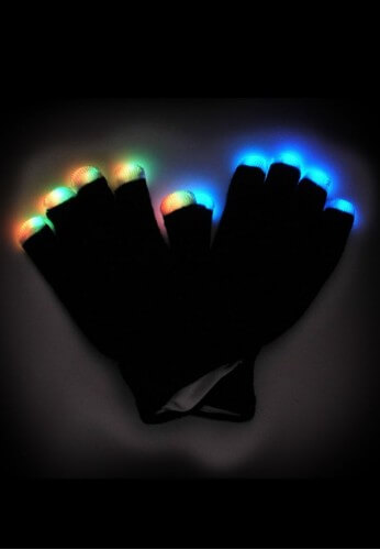 Midnight Multicolored LED Gloves