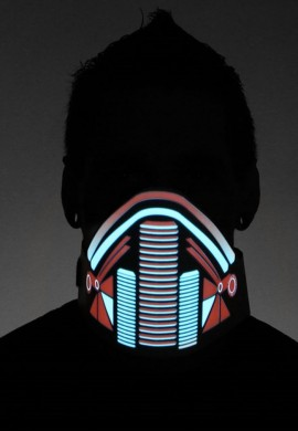Black Digital Samurai LED Mask