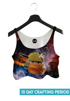 Super Taco Cat Crop Top