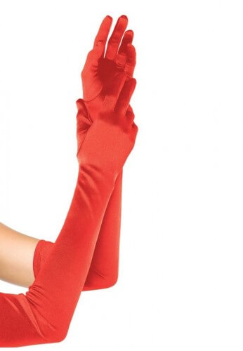 Red Satin Long Gloves