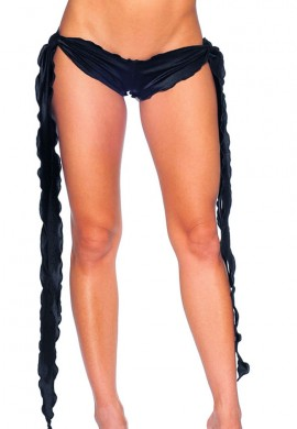 Black Low Rise Tie Shorts