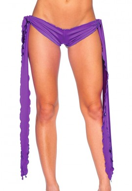 Purple Low Rise Tie Shorts