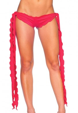 Red Low Rise Tie Shorts