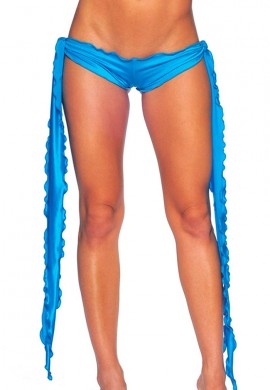 Turquoise Low Rise Tie Shorts