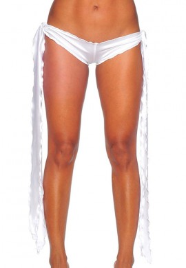 White Low Rise Tie Shorts