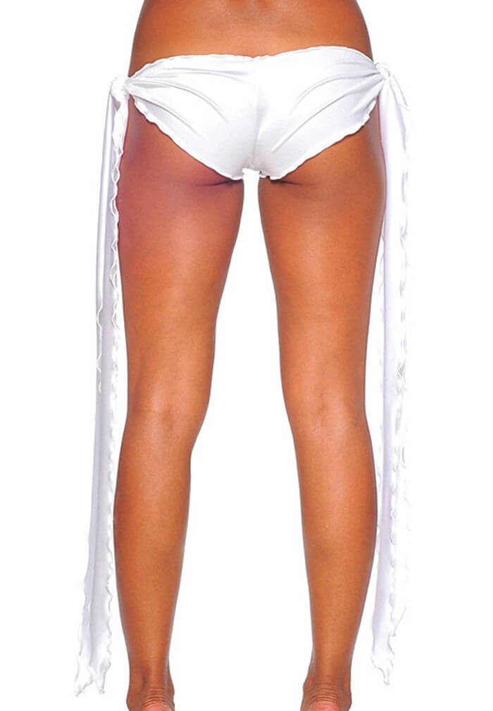 White Low Rise Tie Shorts Layered Edm Festival Ar Raveready