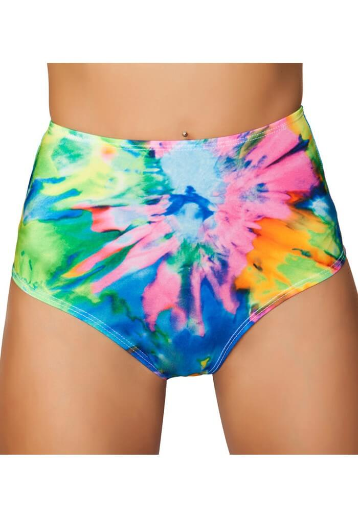 tie dye high waisted shorts all print festival shorts