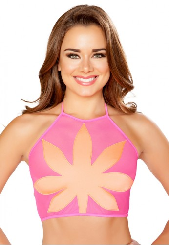 Hot Pink Sheer Flower Top