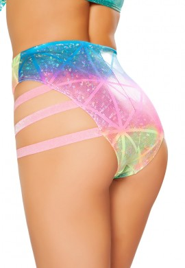 Diamond Hologram High Waist Strapped Shorts
