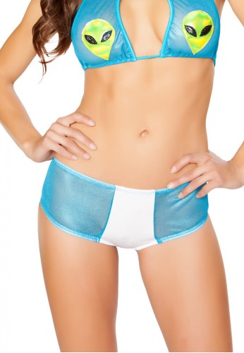 White and Turquoise Two Tone Mesh Booty Shorts