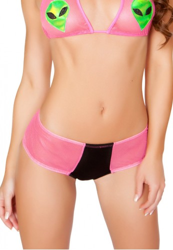 Black and Pink Two Tone Mesh Booty Shorts