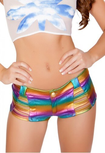 Metallic Rainbow Denim Strapped Shorts