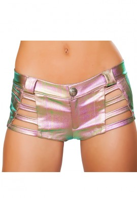 Metallic Light Rainbow Denim Strapped Shorts