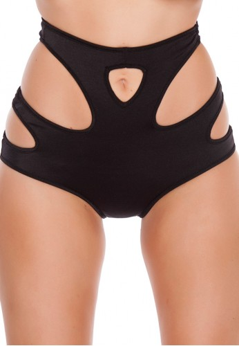 Black High Waisted Cut Out Shorts