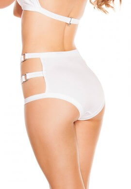 White Triple Buckle Shorts