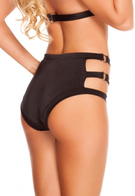 Black Triple Buckle Shorts