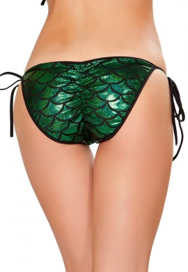 Green Mermaid Pucker Back Bikini Bottom