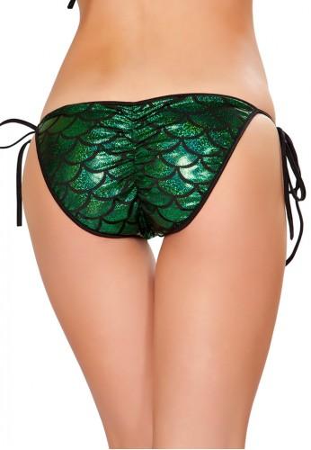 Green Mermaid Pucker Back Bikini Bottom