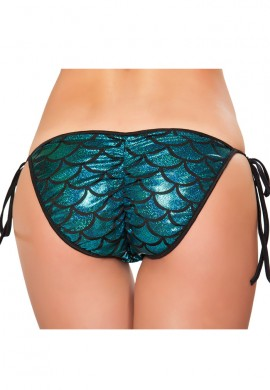 Blue Mermaid Pucker Back Bikini Bottom