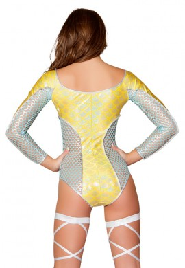 Yellow Mermaid Fishnet Romper