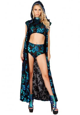 Black with Blue Sequin Duster