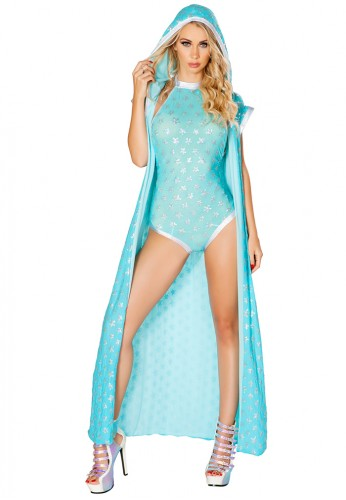 Aqua and Silver Sequin Duster