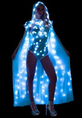Aqua Light-Up Sequin Mesh Duster