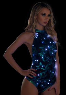 Blue Green Light-Up Sequin Mesh Bodysuit