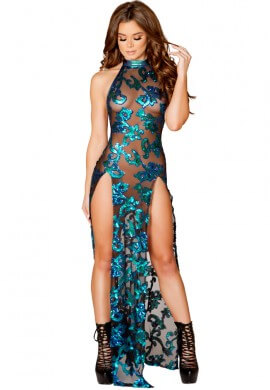 Blue Green Sequin Mesh Gown