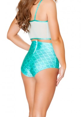 Aqua Mermaid High Waisted Shorts