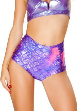 Purple Koi High Waist Shorts