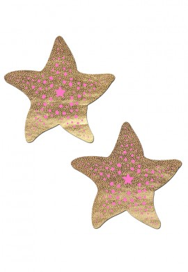 Liquid Gold and Pink Sea Star Nipple Pasties