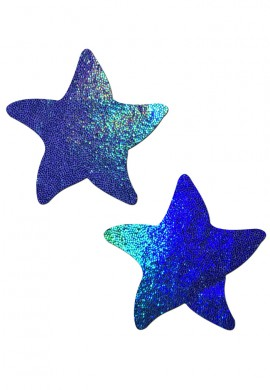 Blue Liquid Hologram Sea Star Nipple Pasties