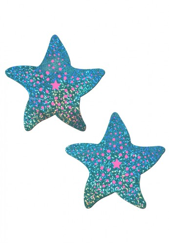 Sea Foam Hologram Sea Star Nipple Pasties