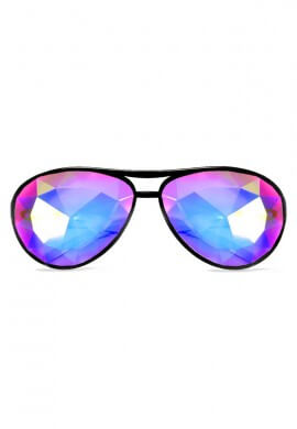 Black Aviator Kaleidoscope Glasses