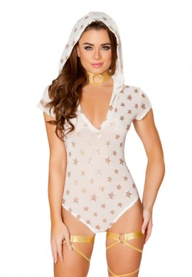 White Sheer Romper with Glitter Gold Stars