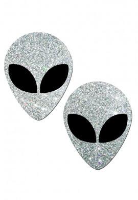 Silver Glitter Alien Pasties