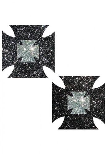 Black Glitter Iron Cross Pasties