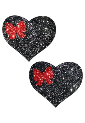 Black Glitter Hearts with Red Bow Pasties