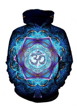 Blue Sacred Om Hoodie